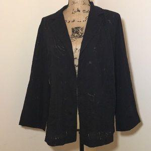 Kasper Black Burnout Print Jacket sz XL